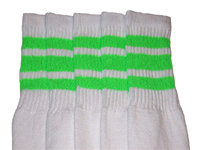Hot Green striped tube socks